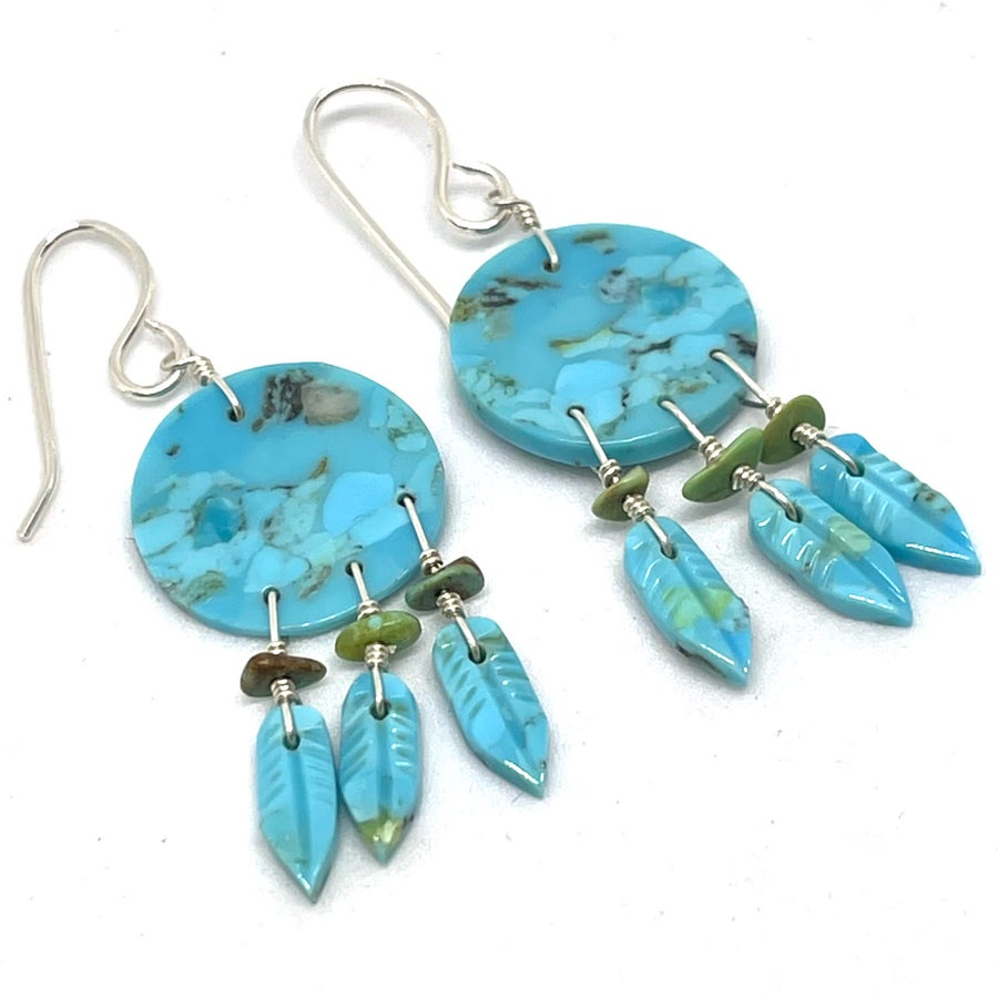 Image of Turquoise Shield Earrings