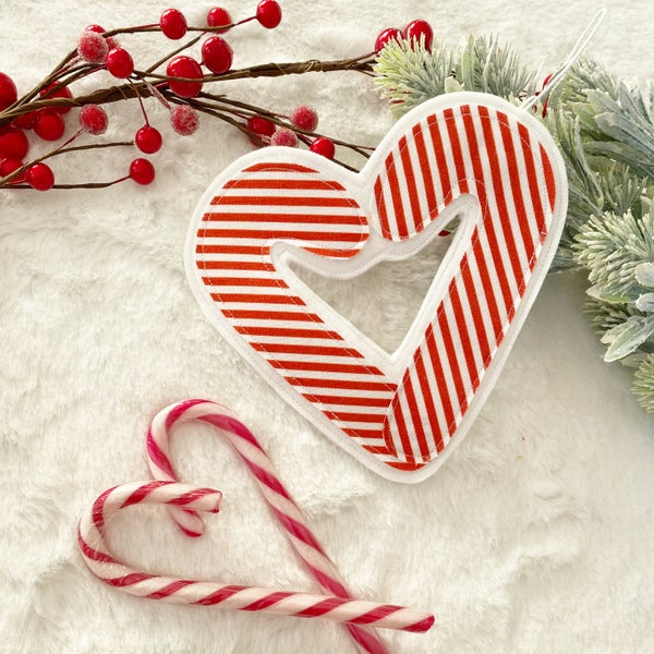 Image of Candy cane heart decoration
