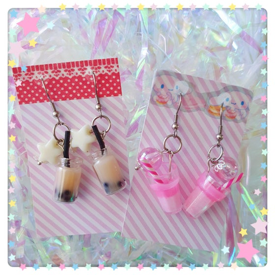 Image of Candy Syrup Kawaii Earrings - Milk Boba Tea and Pink Sherbet Sparkle!
