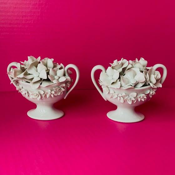 Image of Pair of French Porcelain Flower Vases