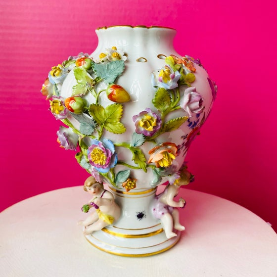Image of Antique Flower Encrusted Porcelain Vase