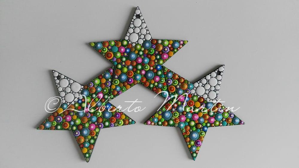 Image of (Number 33). Christmas Stars Tree Ornaments - Dot Art Christmas ornaments. Set of 3.