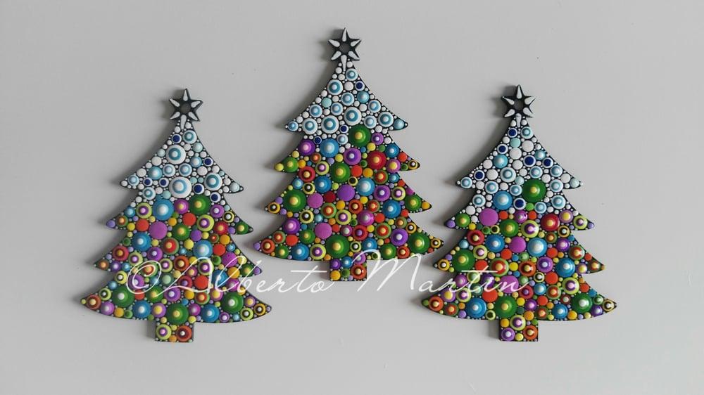 Image of (Number 34). New Christmas tree ornaments - Dot art Christmas decor. Set of 3.