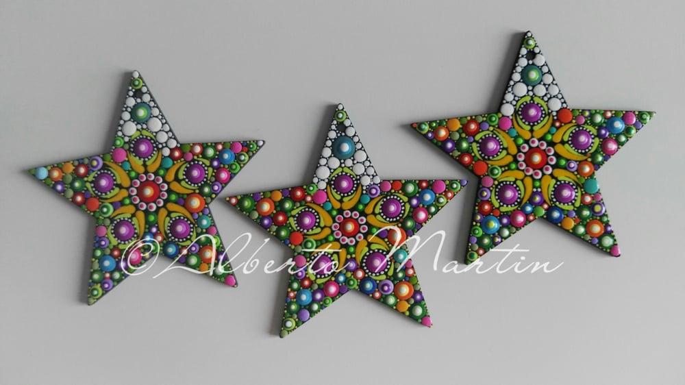 Image of (Number 37). Christmas Stars Tree Ornaments - Dot Art Christmas ornaments. Set of 3.