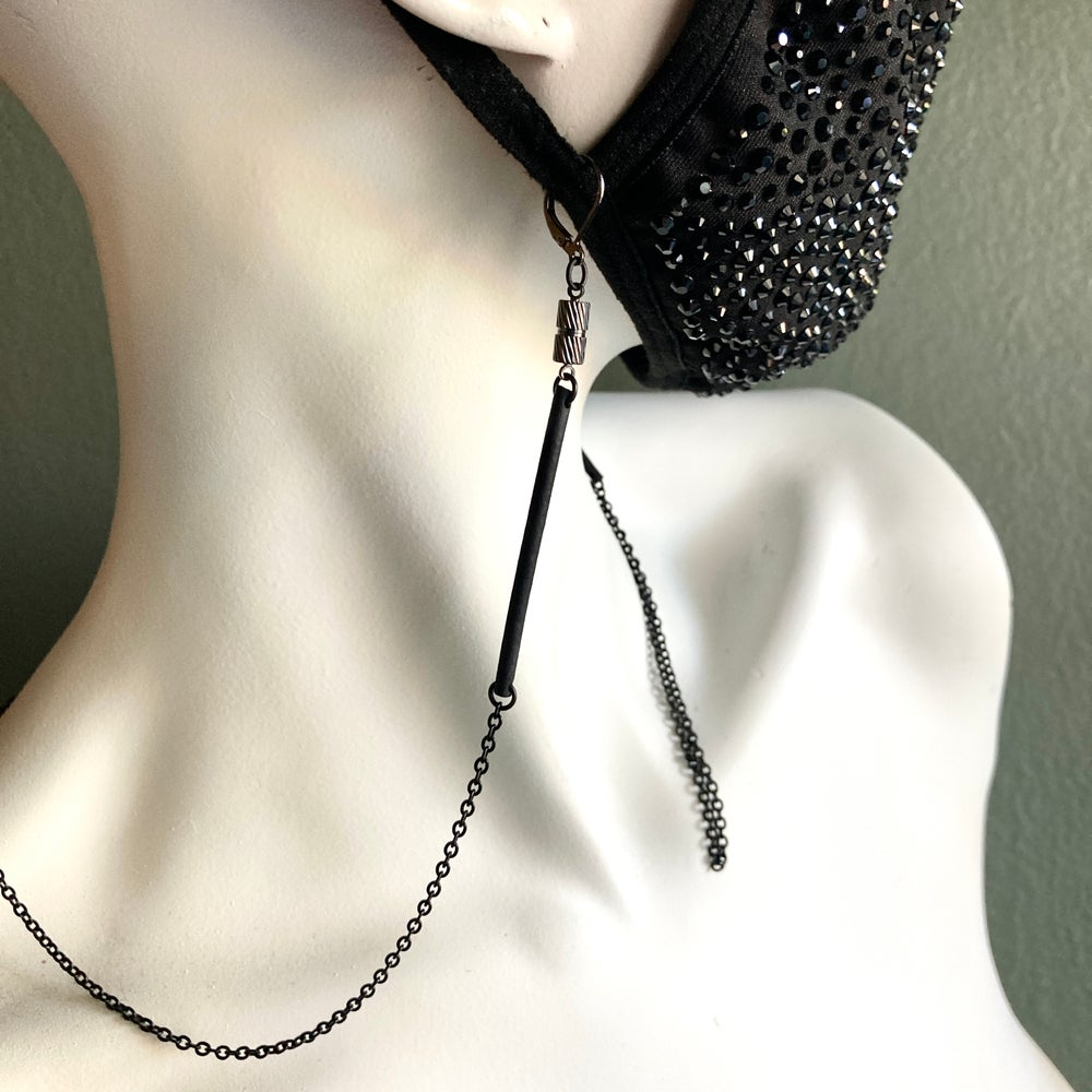 """Image of 26.5"""" Black Stainless and Rubber Convertible Necklace/Mask Chain with Gunmetal Barrel Magnet Clasp"""