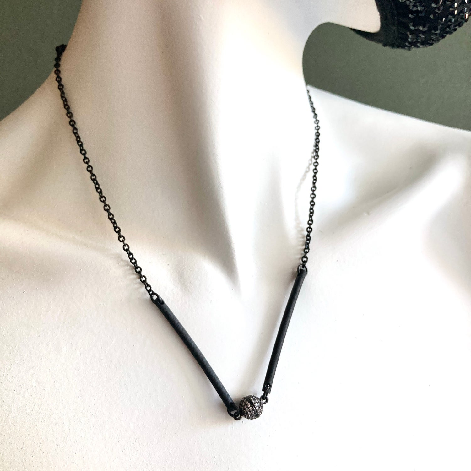 """Image of 18"""" or 21"""" Black Stainless Steel & Rubber Pavé Convertible Necklace/Mask Chain #5"""