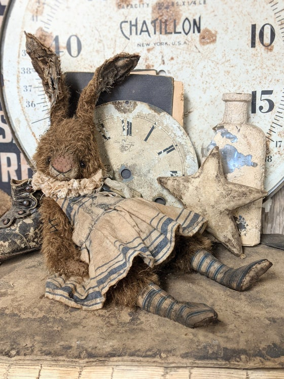 """Image of 14"""" -Old Frumpy Primitive Chocolate Mohair Rabbit in Dress & Stockings by Whendi's Bears"""