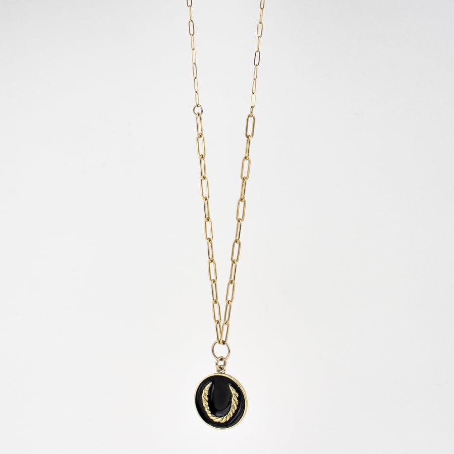 Image of Large Gold Roped Horseshoe Charm Necklace