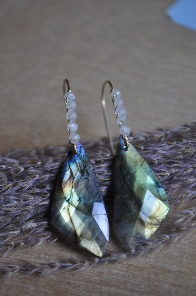 Image of Labradorite Wing Dangles with Rainbow Moonstone