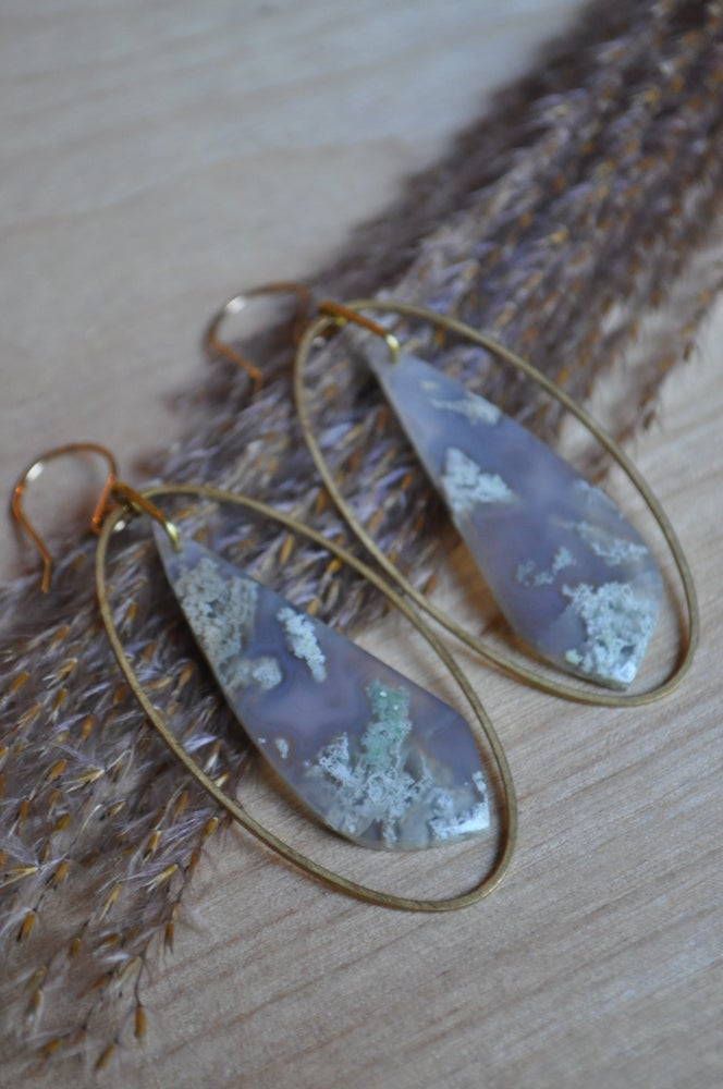 Image of Moss Agate Oval Hoops