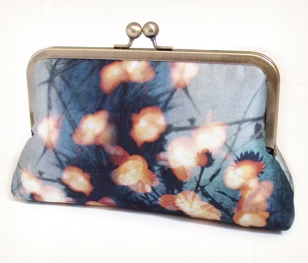 Image of Fairy lights clutch bag, blue and orange silk purse