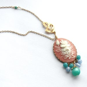 Image of Vintage style pink floral cameo necklace