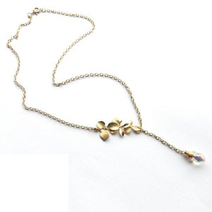 Image of Cascading orchids necklace with swarovski drop