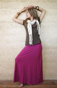 Image of Bamboo Long Roll Band Skirt.