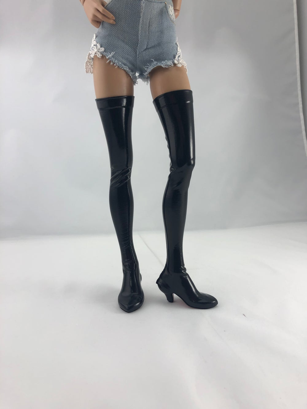 Damaged Black Patent Thigh High Boots Red Soles: Minifee