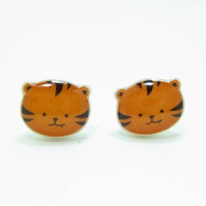 Image of Tiger Earrings - Sterling Silver Posts
