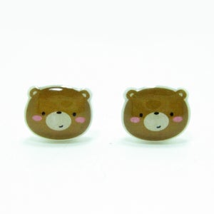 Image of Bear Earrings - Sterling Silver Posts
