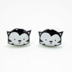 Image of Black Cat Earrings - Sterling Silver Posts