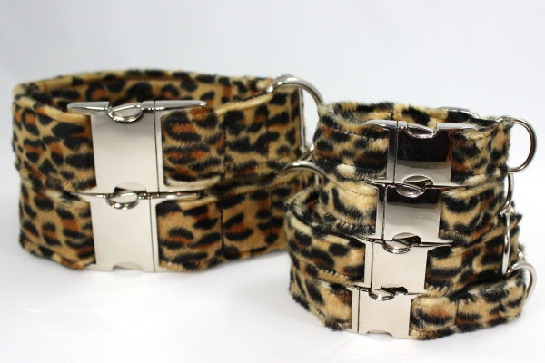 Leopard print Dog Collar - dark