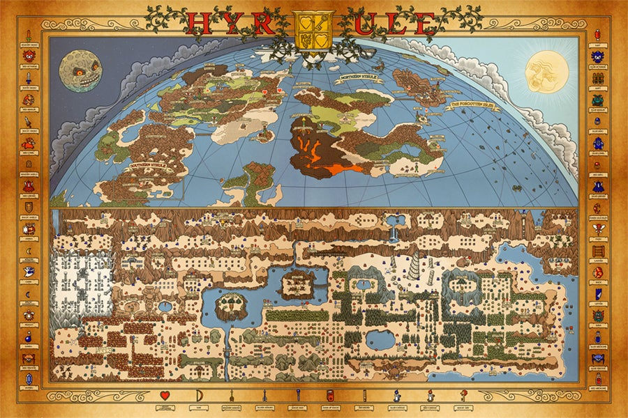 Image of NES Hyrule Map (Overworld)