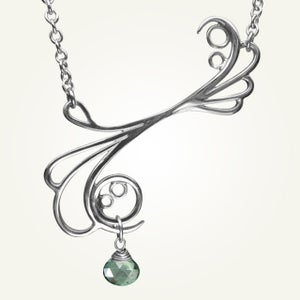 Image of Mayan Reef Necklace with Green Mystic Quartz, Sterling Silver