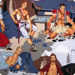 Image of FF Sexy Pin Up Guys Camper and Fisherman Cotton Fabric