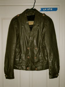 Image of Genuine leather double breasted grey jacket.