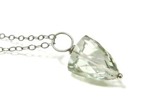 Image of Splendid Special Cut Faceted Green Amethyst Necklace