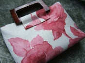 Image of Elegant Pink and Ivory Rose Print Handbag