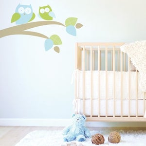 Image of Mommy and Baby Owl Fabric Decal - Removable and Reusable