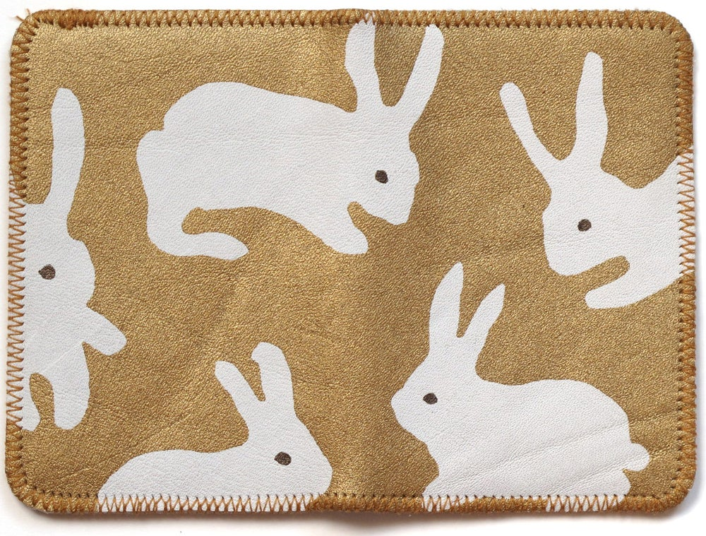 Image of White & Gold Rabbits Double Card Holder
