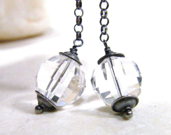 Image of long faceted crystal quartz dangles