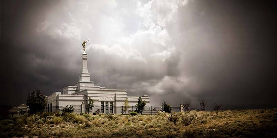 Image of Reno Temple During Storm