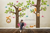 Image of NEW DESIGN - Animal Friends in Woodland with tyre swing - Vinyl sticker wall decal children playroom