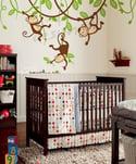 Three Monkeys Swinging on Vines - dd1049 - Kids Vinyl Wall Sticker Decal Art