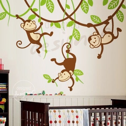 Three Monkeys Swinging On Vines Dd1049 Kids Vinyl Wall