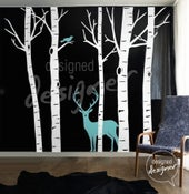 Image of Vinyl wall sticker decal Art -Winter Birch Trees with Deer and Bird - dd1008