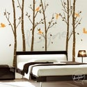 Vinyl Wall Decal Sticker Art - Birds in the Urban Forest 101in tall 6 leafy trees - Large - dd1014