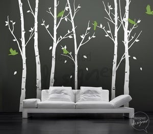 Image of Vinyl Wall Decal Sticker Art - Birds in the Urban Forest 101in tall 6 leafy trees - Large - dd1014
