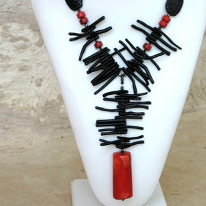 Image of Zen Fire - Black and Red Coral Necklace