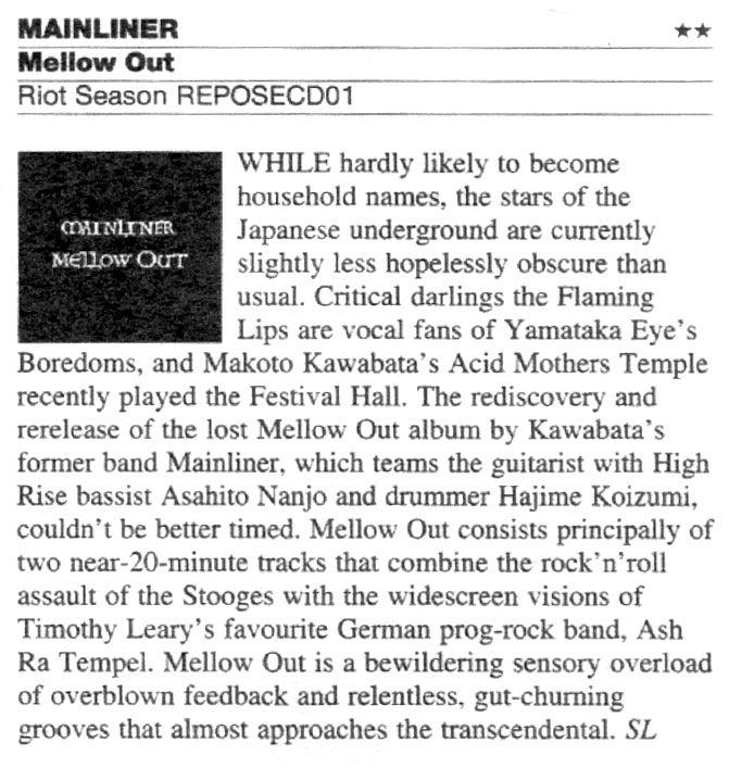 MAINLINER 'Mellow Out' CD