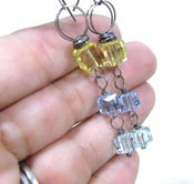 Image of three squared crystal dangle earrings