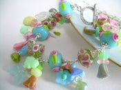Image of Monet's Garden - Lampwork and Sterling Charm Bracelet