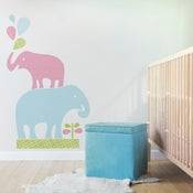 Image of Stacked Elephants Removable Reusable Fabric Wall Decal
