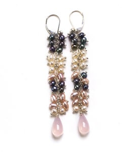 Image of Long Silver Pearl Cluster Earrings