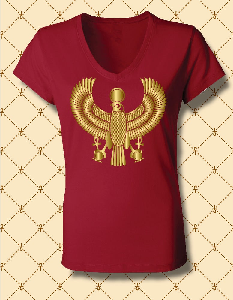 Image of Women's Custom Heru Gold Foil V Neck