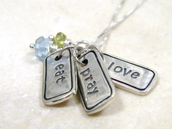Image of eat, pray, love hand stamped sterling silver charm necklace