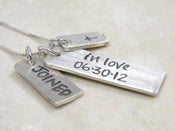Image of wedding date sterling silver hand stamped necklace joined