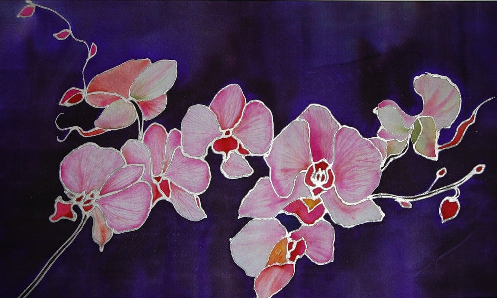 Image of Chinese Colored Orchids Silk Portrait - Handpainted Silk