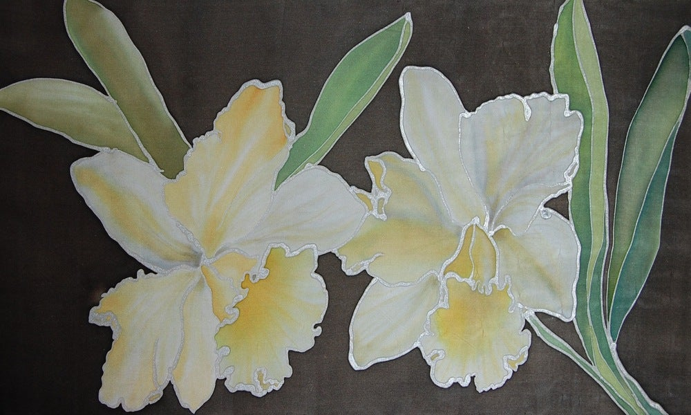Image of Morning Orchids Silk Portrait - Handpainted Silk